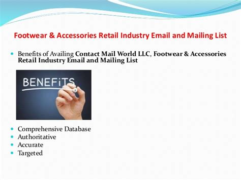 industrial communications mail footwear accessories retail industry email and mailing list