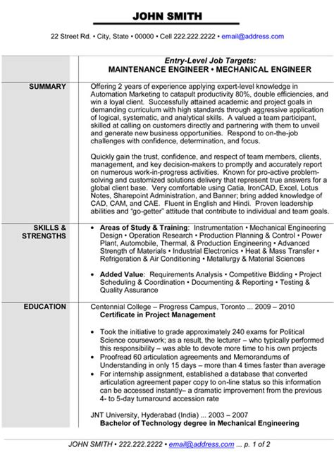 resume templates for mechanical engineers maintenance or mechanical engineer resume template