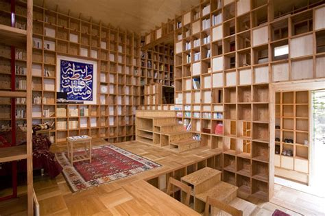 home building design books shelf pod an entire japanese home lined with a maze of