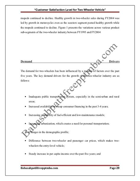 Two Wheeler Transfer Letter Format A Project Report On Customer Satisfaction Level For Two Wheeler Vehic