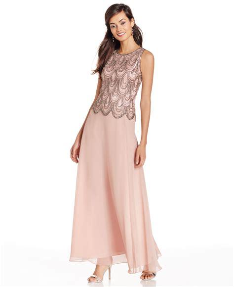 j kara beaded chiffon gown j kara sleeveless beaded chiffon gown in pink blush lyst