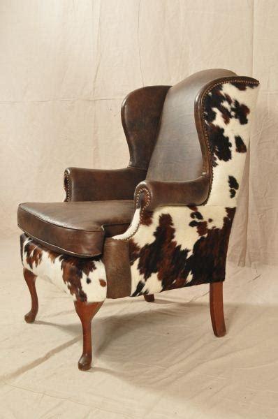cowhide upholstery custom cowhide western wing back chair