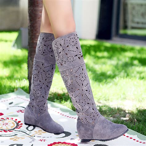 2015 fall boots fashion cut out black shoes boots