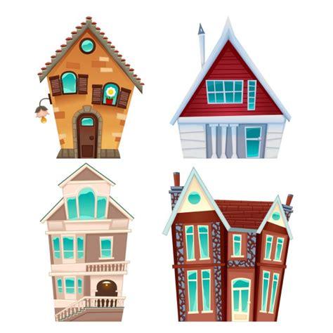 cartoon house four cartoon houses vector free download