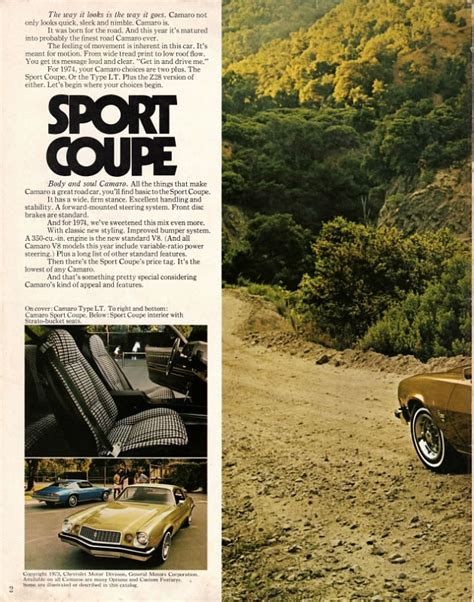 car manuals free online 1974 chevrolet camaro free book repair manuals directory index chevrolet 1974 chevrolet 1974 chevrolet camaro brochure