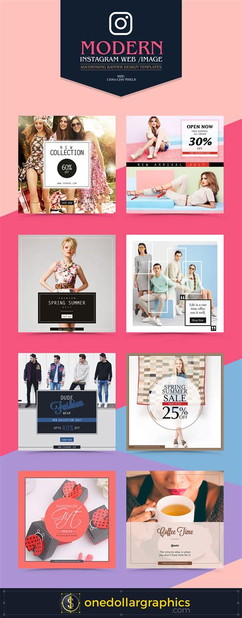 Modern Instagram Web Image Advertising Ad Banner Design Templates Instagram Ad Template Psd