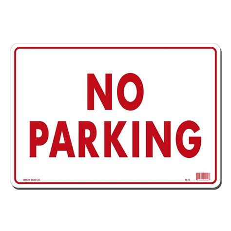 lynch sign 14 in x 10 in on white plastic no parking