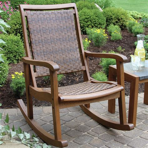 Outdoor Patio Rocking Chairs by Outdoor Wicker Wood Rocking Chair Patio Porch Seat Rocker