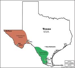 united states map showing deserts lophophora geographic distribution of peyote lophophora