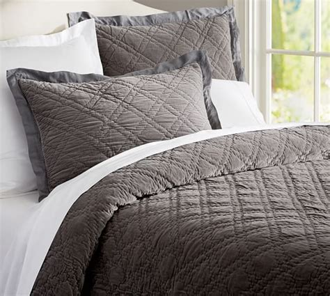 Quilted Bedding by Washed Velvet Silk Quilt Sham Pottery Barn