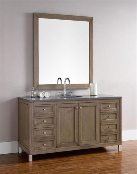 Chicago Bathroom Vanities Martin Chicago Single 60 Inch Transitional Bathroom Vanity White Washed Walnut
