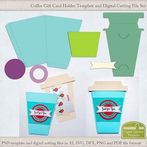 paper gift card holder template coffee cup digital cutting file paper garden projects