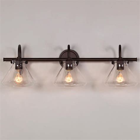 retro bathroom light beaker glass bath light 3 light bath light rubbed