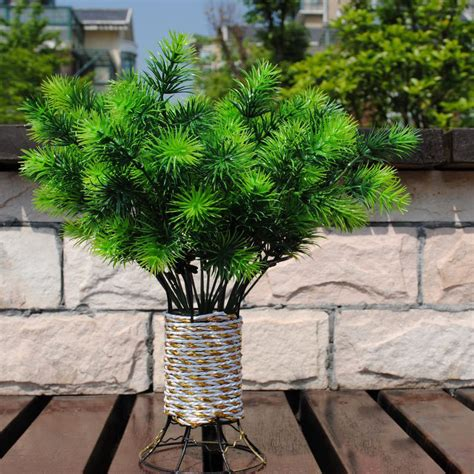 decorative trees for home decorative flowers artificial one piece 7 branches 35cm plastic bouquet plant pine needle green
