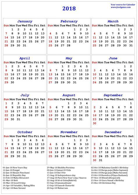 printable calendar 2018 holidays 2018 calendar holidays list unique 2018 calendar printable
