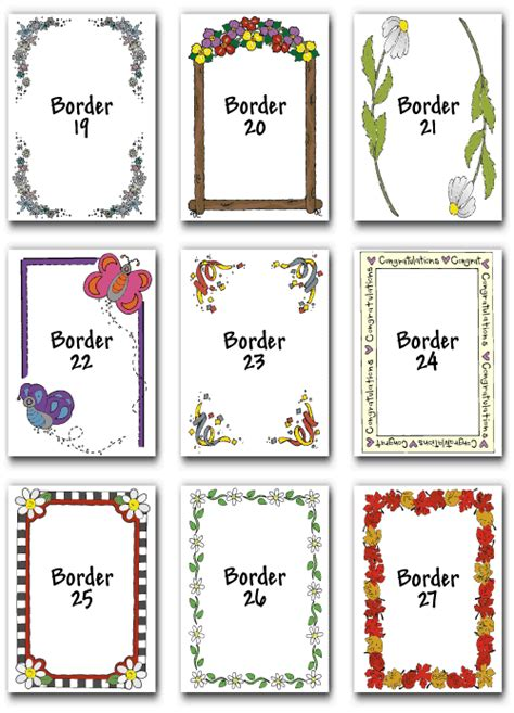 Free Flash Card Template With Border by Borders For Flash Cards Studio Design Gallery Best