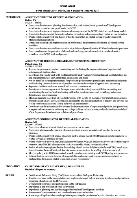 Special Education Resume by Special Education Assistant Resume Sles Velvet