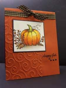 fall card used embossing folder card ideas