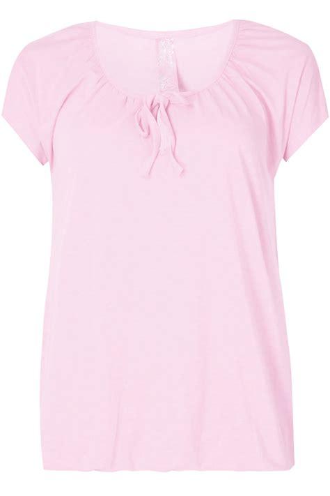 Pink Babol Hem baby pink plain basic t shirt with hem plus size 16 18 20 22 24 26 28 30 32 34 36