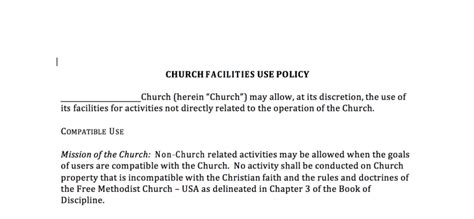 Letter Of Agreement For Use Of Facility Church Facilities Use Policy 171 Free Methodist Church Resources