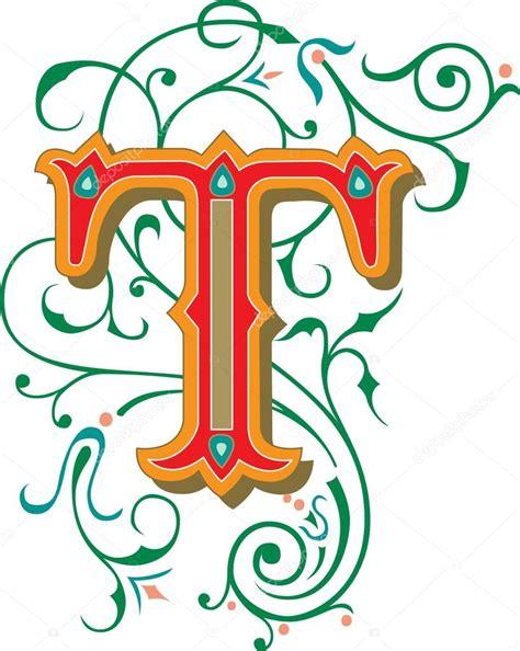 lettere vettoriali splendidamente decorate alfabeti inglesi lettera t