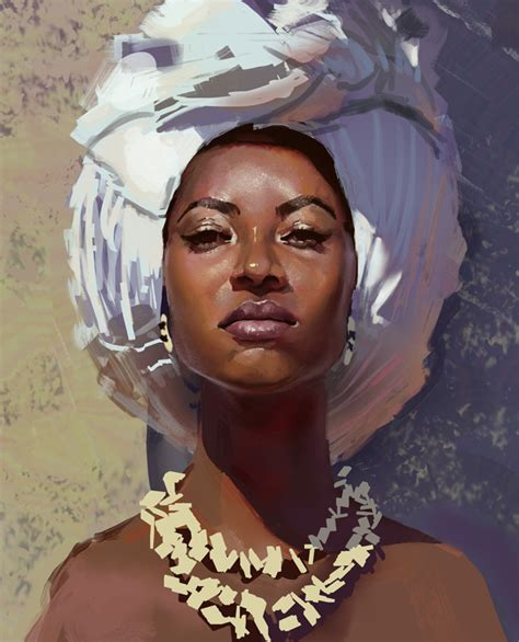 black woman paintings portraits artstation n45 thiago moura janu 225 rio