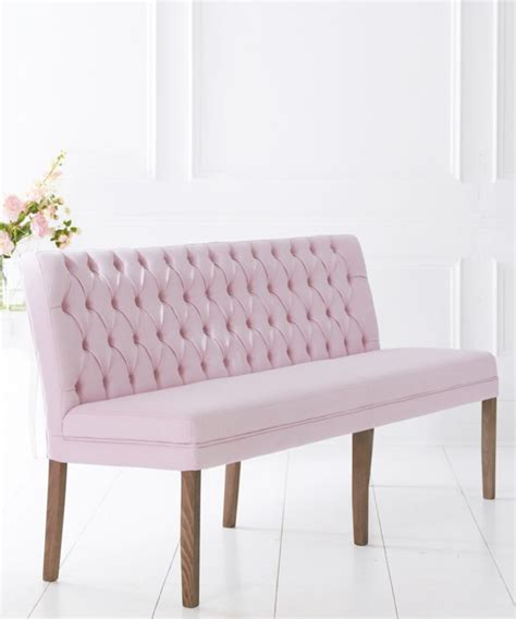 Upholstered dining bench   deep buttoned linen look   6