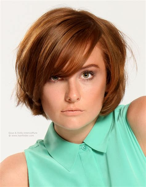 rounded hairstyles short layered bob with rounded sides and bangs across the