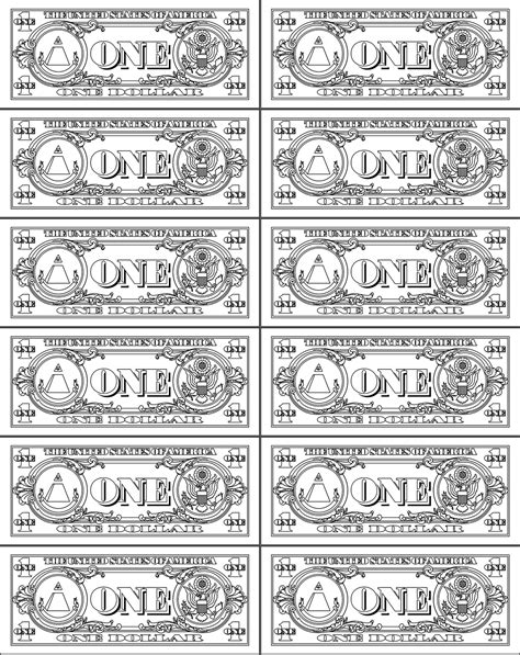 printable play money 10 coloring kids