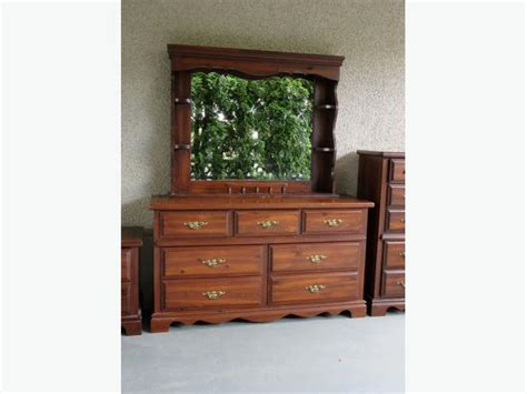 solid wood pine dresser with shelves and mirror