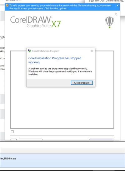 corel draw x7 keeps crashing can t install on win10 corel installation has stopped