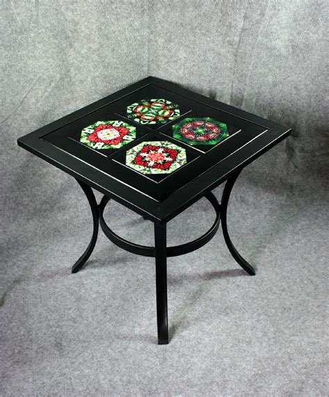 Ceramic Patio Table Metal Accent Table Side Table Coffee Table Patio Table With Ceramic Tile Top