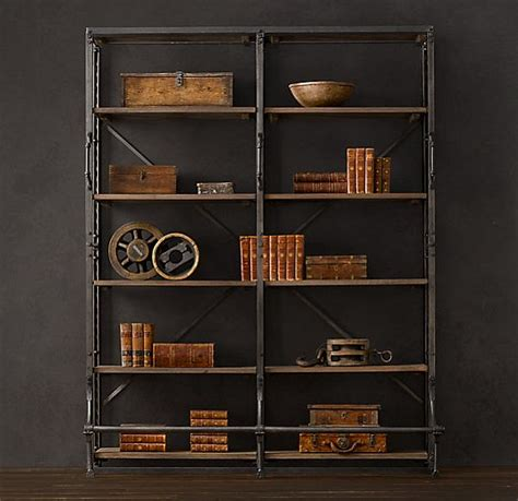 library bookcase wall unit restoration hardware vintage french shelving
