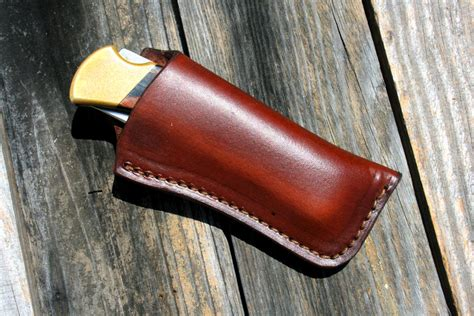 Handmade Leather Sheaths - custom leather knife sheath for buck 110 or similar folding