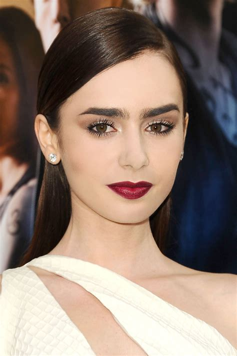 lily collins great hair and lip colour game is as famous as she is the best oxblood lips of 2013 elena fashion girl