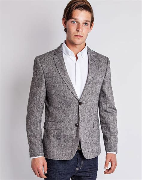 grey blazer lyst the idle man tweed blazer in slim fit in gray for men