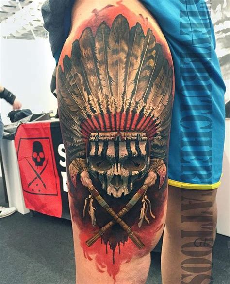 native american tattoo on leg