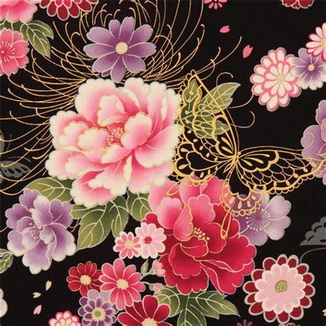 imagenes de flores japonesas en tela tela negra con flores japonesas y adornos d kokka telas