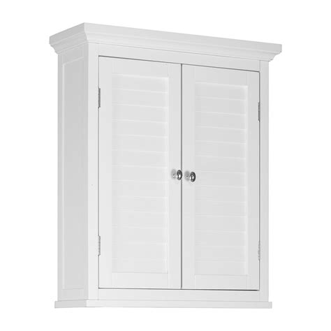 White Bathroom Wall Cabinet Shop Home Fashions Slone 20 In W X 24 In H X 7 In D White Bathroom Wall Cabinet At Lowes