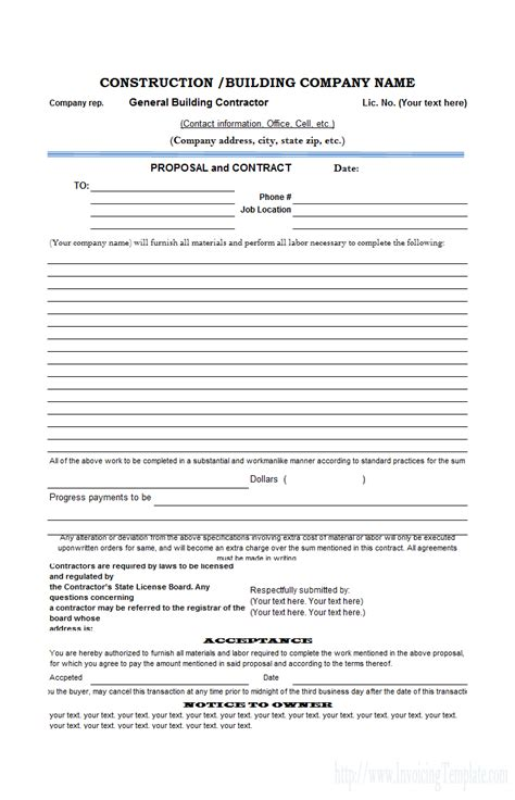 Construction Proposal Template Masonry Contract Template