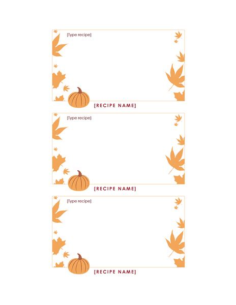 thanksgiving recipe card template blank and general office