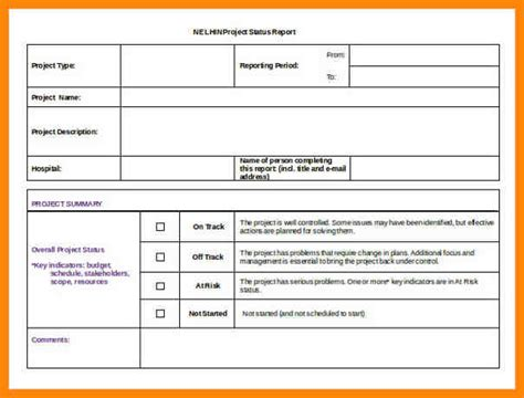 project template doc sle project status report sle ideas