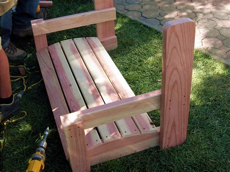 wooden bench swing kits how to build a freestanding arbor swing how tos diy