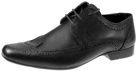 limden boys black leather brogue lace up formal