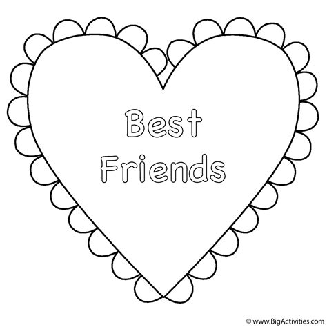 heart best friends coloring page valentine s day