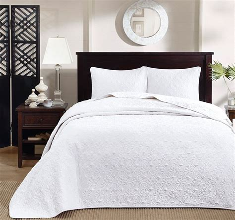 White Matelasse 3pc King Bedspread Set Cotton Fill Quilt Matelasse Bedding Sets