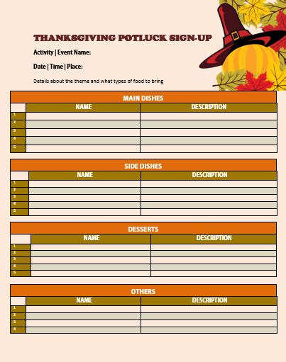 thanksgiving potluck signup sheet template 12 thanksgiving potluck signup sheets with thankgiving