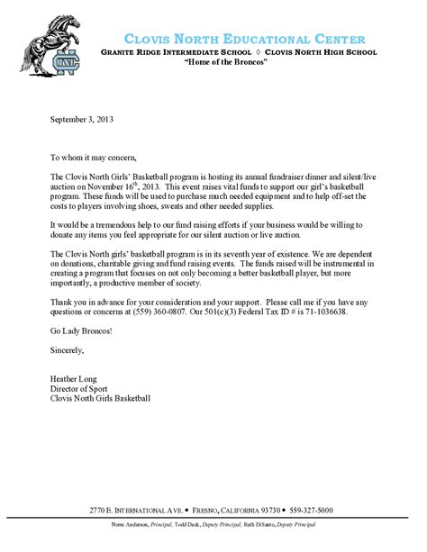 Sponsorship Letter Clovis North Girls Basketball Call For Sponsorship Template