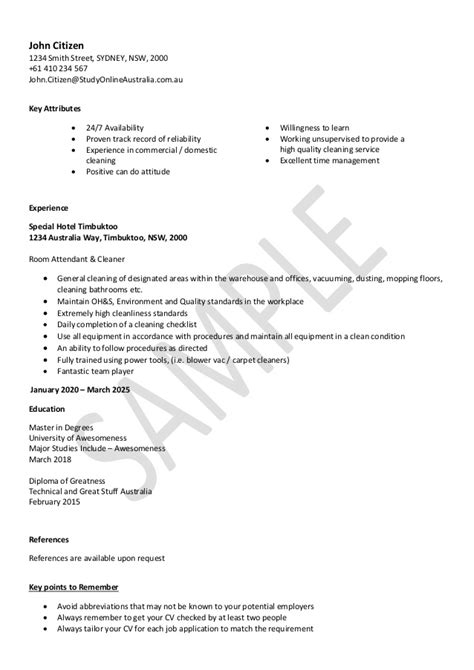 nsw service resume template 28 images cleaning resume