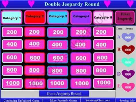 valentines day theme interactive jeopardy template with